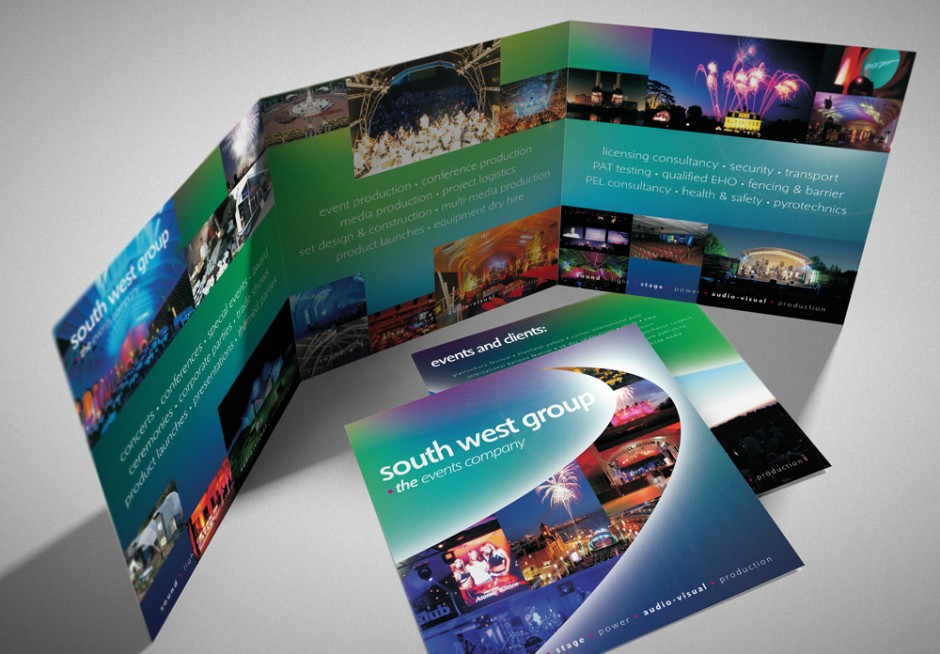 events company glossy folded brochure design  u0026 branding